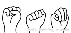 Sam in Fingersprache für Gehörlose