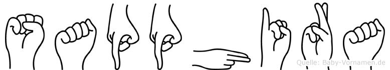 Sapphira im Fingeralphabet der Deutschen Gebärdensprache
