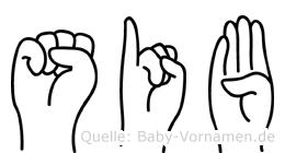 Sib in Fingersprache für Gehörlose