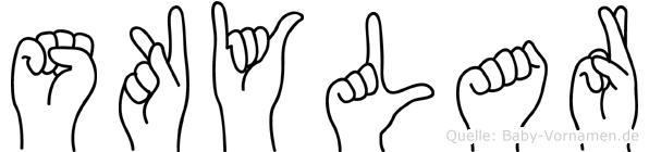 Skylar im Fingeralphabet der Deutschen Gebärdensprache