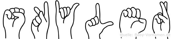 Skyler im Fingeralphabet der Deutschen Gebärdensprache