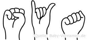 Sya im Fingeralphabet der Deutschen Gebärdensprache