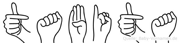 Tabita im Fingeralphabet der Deutschen Gebärdensprache