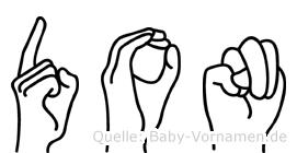 Don im Fingeralphabet der Deutschen Gebärdensprache
