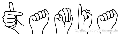 Tamia im Fingeralphabet der Deutschen Gebärdensprache