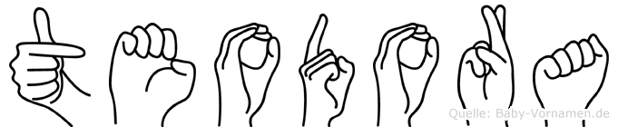 Teodora im Fingeralphabet der Deutschen Gebärdensprache