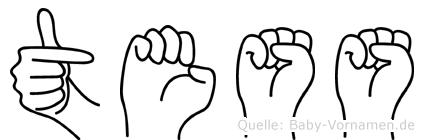 Tess im Fingeralphabet der Deutschen Gebärdensprache