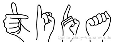 Tida im Fingeralphabet der Deutschen Gebärdensprache