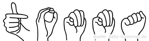 Tomma im Fingeralphabet der Deutschen Gebärdensprache
