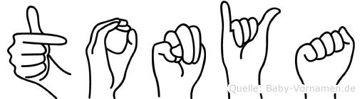 Tonya im Fingeralphabet der Deutschen Gebärdensprache