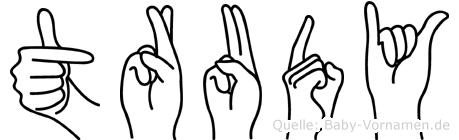 Trudy im Fingeralphabet der Deutschen Gebärdensprache