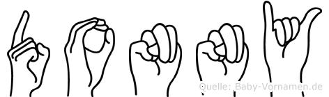 Donny im Fingeralphabet der Deutschen Gebärdensprache