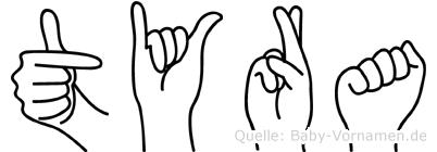 Tyra im Fingeralphabet der Deutschen Gebärdensprache