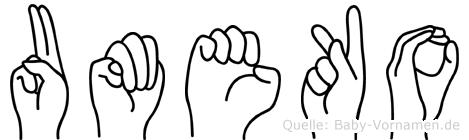 Umeko in Fingersprache für Gehörlose