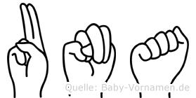 Una im Fingeralphabet der Deutschen Gebärdensprache