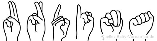 Urdina im Fingeralphabet der Deutschen Gebärdensprache