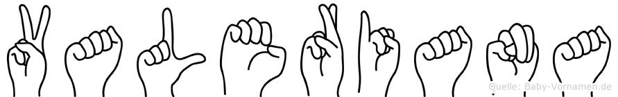 Valeriana im Fingeralphabet der Deutschen Gebärdensprache