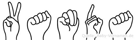 Vanda im Fingeralphabet der Deutschen Gebärdensprache