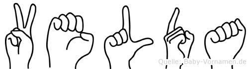 Velda im Fingeralphabet der Deutschen Gebärdensprache