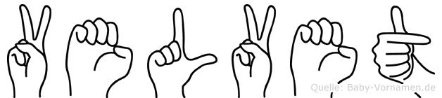 Velvet in Fingersprache für Gehörlose
