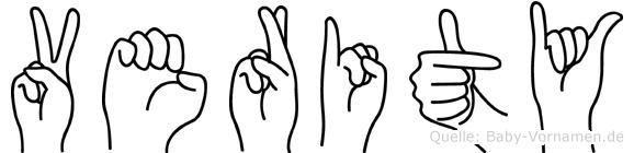 Verity im Fingeralphabet der Deutschen Gebärdensprache