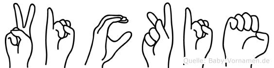 Vickie im Fingeralphabet der Deutschen Gebärdensprache