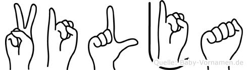 Vilja im Fingeralphabet der Deutschen Gebärdensprache