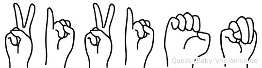Vivien im Fingeralphabet der Deutschen Gebärdensprache