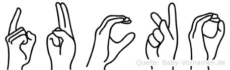 Ducko im Fingeralphabet der Deutschen Gebärdensprache