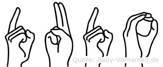 Dudo im Fingeralphabet der Deutschen Gebärdensprache
