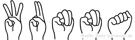Wunna im Fingeralphabet der Deutschen Gebärdensprache