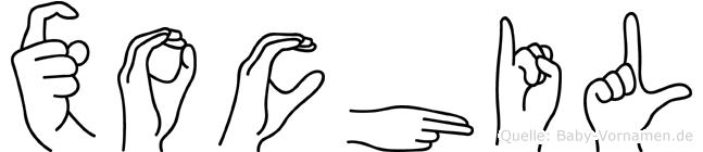 Xochil im Fingeralphabet der Deutschen Gebärdensprache