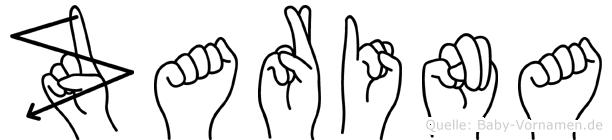 Zarina in Fingersprache für Gehörlose