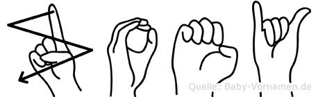 Zoey in Fingersprache für Gehörlose