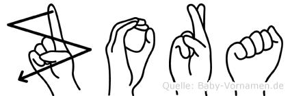 Zora in Fingersprache für Gehörlose