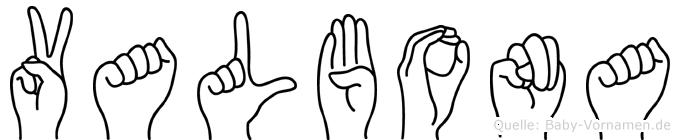 Valbona im Fingeralphabet der Deutschen Gebärdensprache