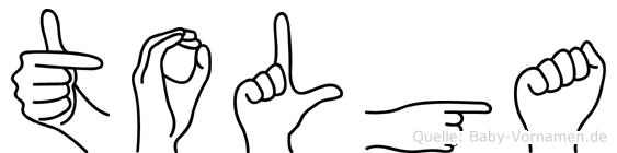 Tolga im Fingeralphabet der Deutschen Gebärdensprache