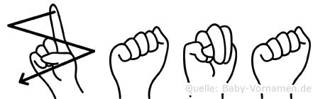 Zana im Fingeralphabet der Deutschen Gebärdensprache
