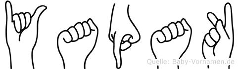 Yapak im Fingeralphabet der Deutschen Gebärdensprache