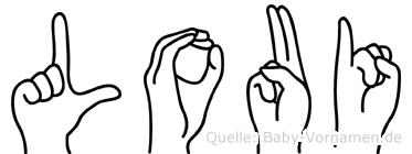 Loui im Fingeralphabet der Deutschen Gebärdensprache