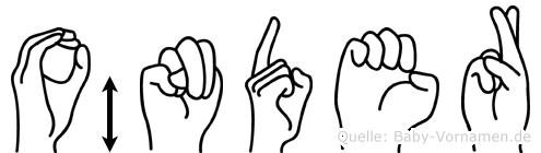 Önder im Fingeralphabet der Deutschen Gebärdensprache