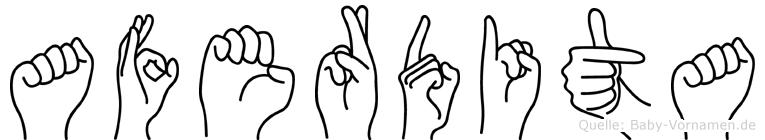 Aferdita im Fingeralphabet der Deutschen Gebärdensprache