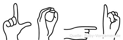 Logi im Fingeralphabet der Deutschen Gebärdensprache