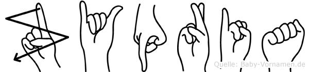 Zypria im Fingeralphabet der Deutschen Gebärdensprache