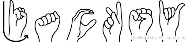 Jacksy im Fingeralphabet der Deutschen Gebärdensprache