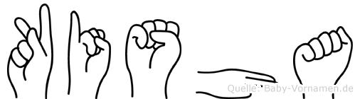 Kisha im Fingeralphabet der Deutschen Gebärdensprache
