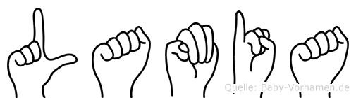Lamia im Fingeralphabet der Deutschen Gebärdensprache