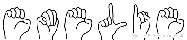 Emelie im Fingeralphabet der Deutschen Gebärdensprache