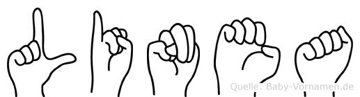Linea im Fingeralphabet der Deutschen Gebärdensprache
