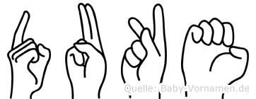 Duke in Fingersprache für Gehörlose